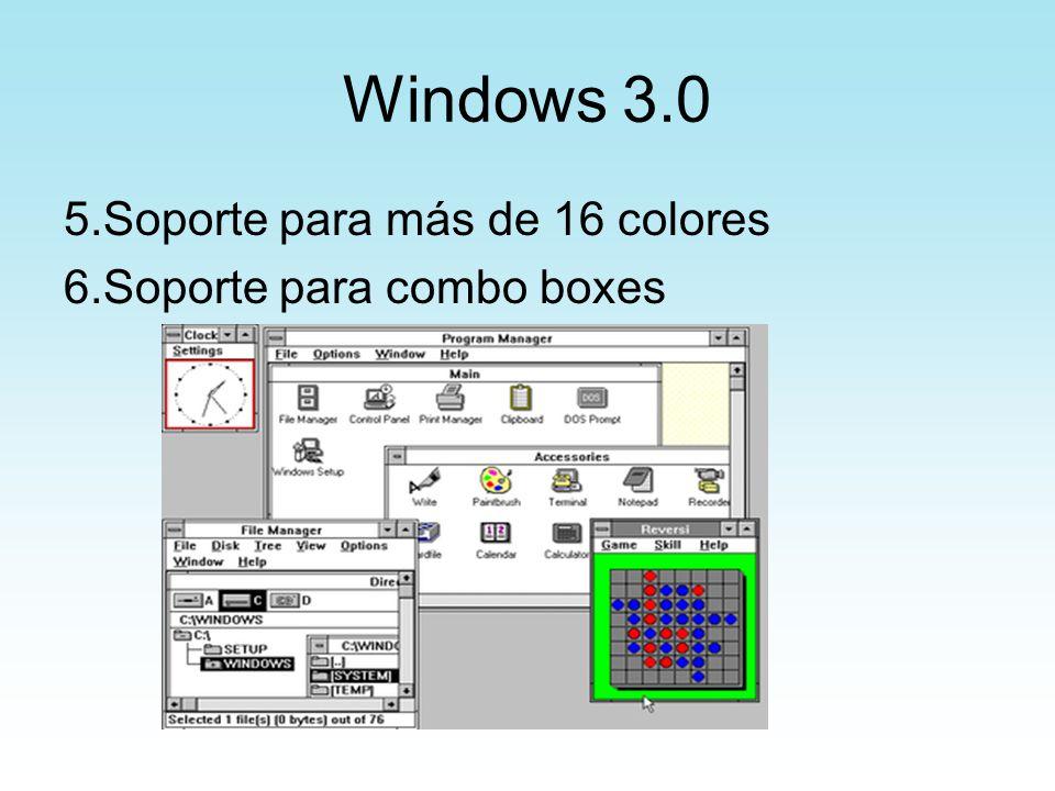 Windows 3.0 5.Soporte para más de 16 colores