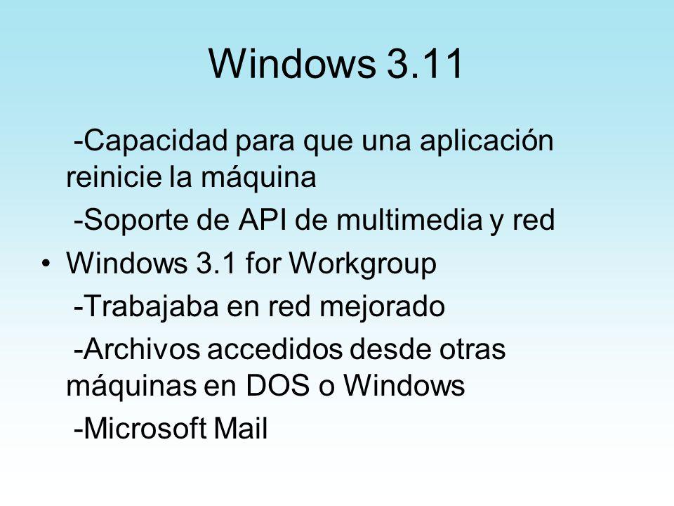 Windows 3.11 -Capacidad para que una aplicación reinicie la máquina