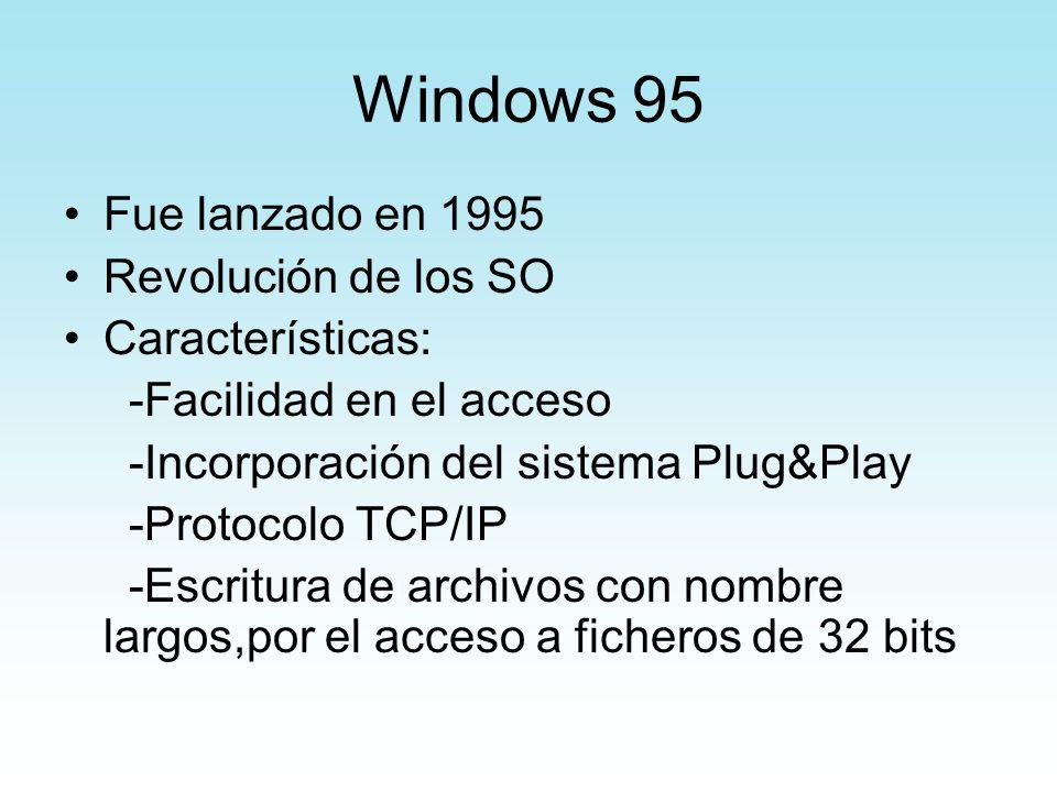 Windows 95 Fue lanzado en 1995 Revolución de los SO Características: