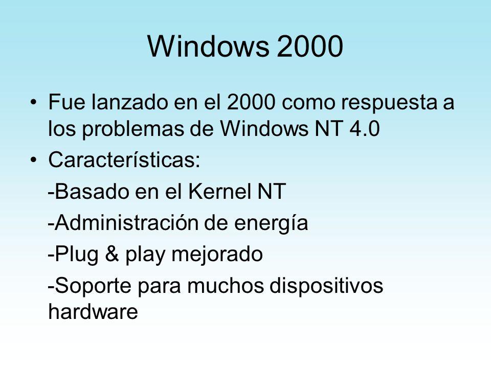 Windows 2000 Fue lanzado en el 2000 como respuesta a los problemas de Windows NT 4.0. Características: