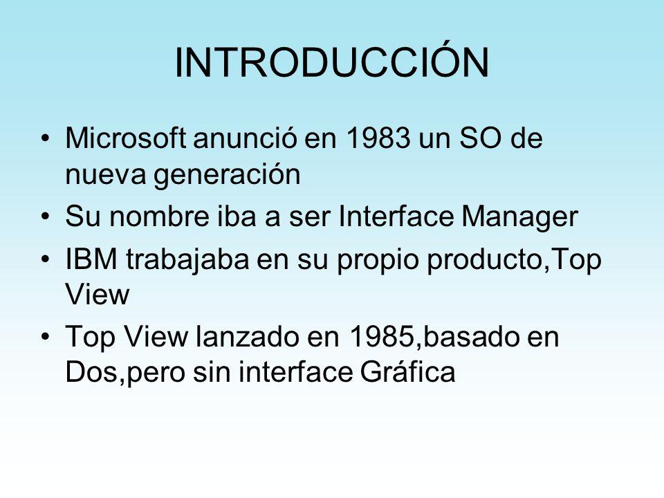 INTRODUCCIÓN Microsoft anunció en 1983 un SO de nueva generación