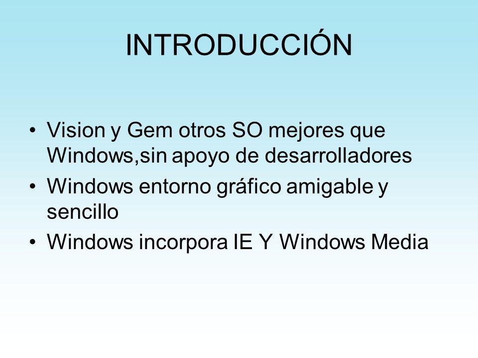 INTRODUCCIÓN Vision y Gem otros SO mejores que Windows,sin apoyo de desarrolladores. Windows entorno gráfico amigable y sencillo.