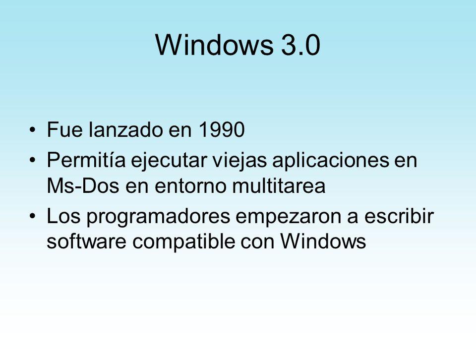 Windows 3.0 Fue lanzado en 1990. Permitía ejecutar viejas aplicaciones en Ms-Dos en entorno multitarea.