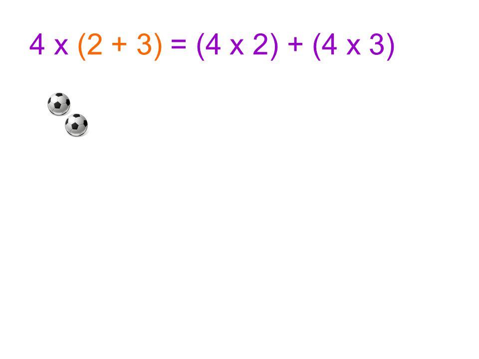4 x (2 + 3) = (4 x 2) + (4 x 3)