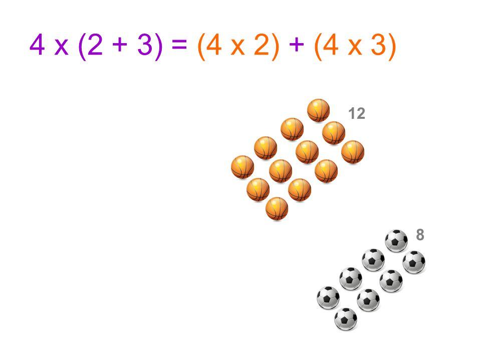 4 x (2 + 3) = (4 x 2) + (4 x 3) 12 8
