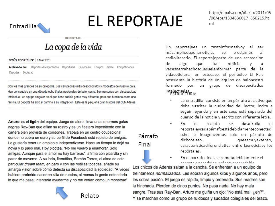 EL REPORTAJE Entradilla Párrafo Final Relato