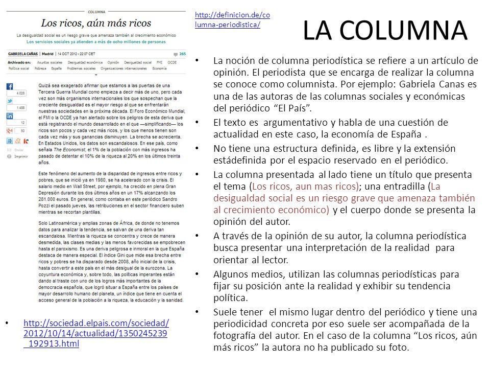 LA COLUMNAhttp://definicion.de/columna-periodistica/