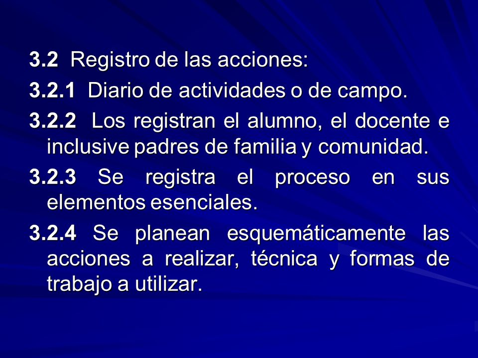 3.2 Registro de las acciones: