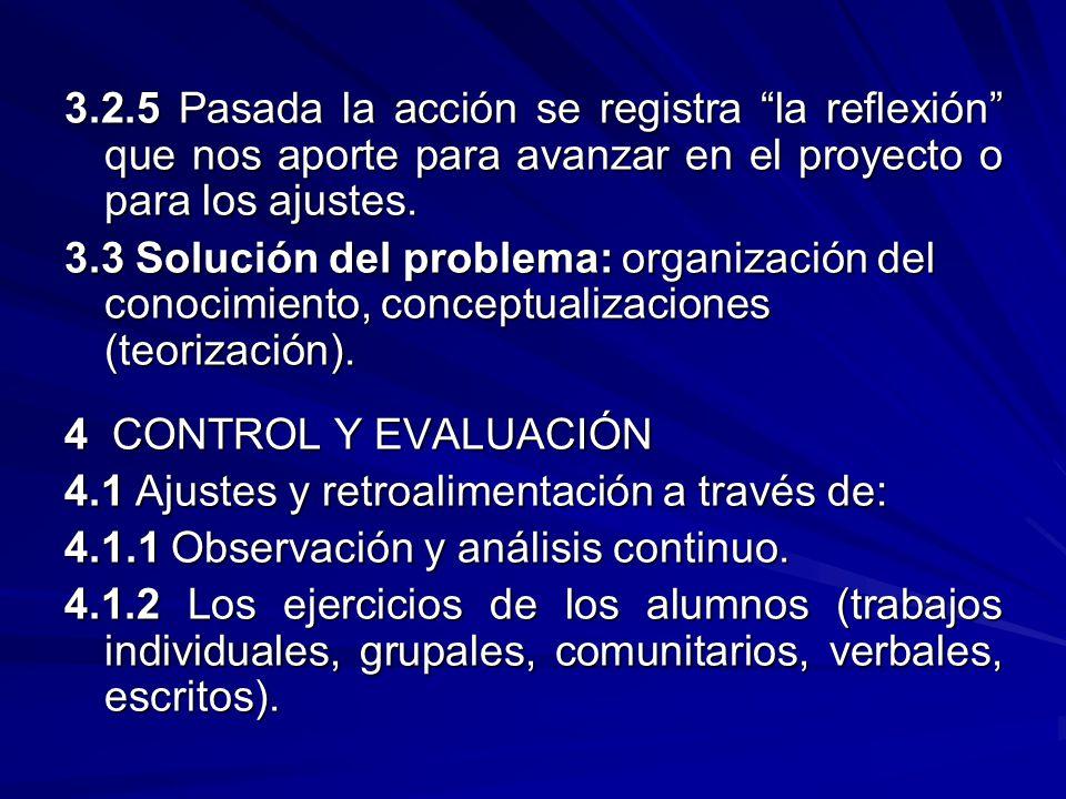 3.2.5 Pasada la acción se registra la reflexión que nos aporte para avanzar en el proyecto o para los ajustes.