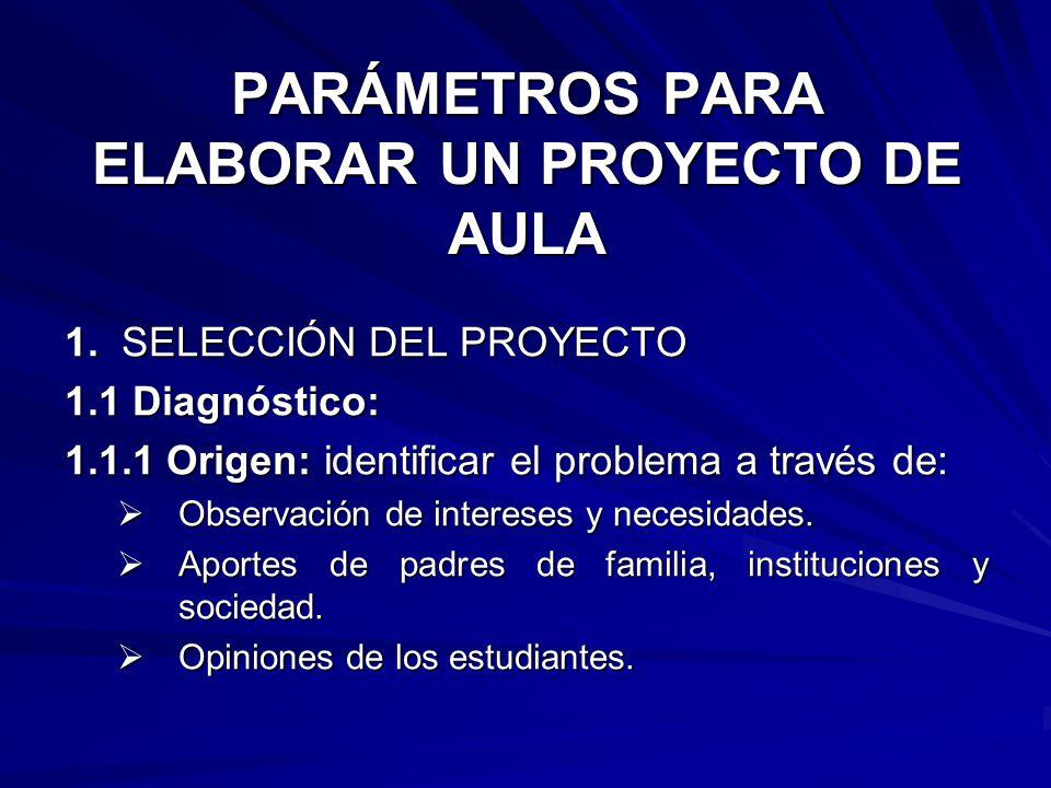 PARÁMETROS PARA ELABORAR UN PROYECTO DE AULA