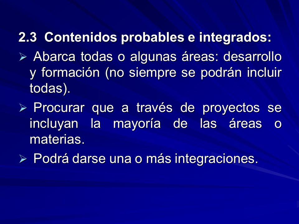 2.3 Contenidos probables e integrados:
