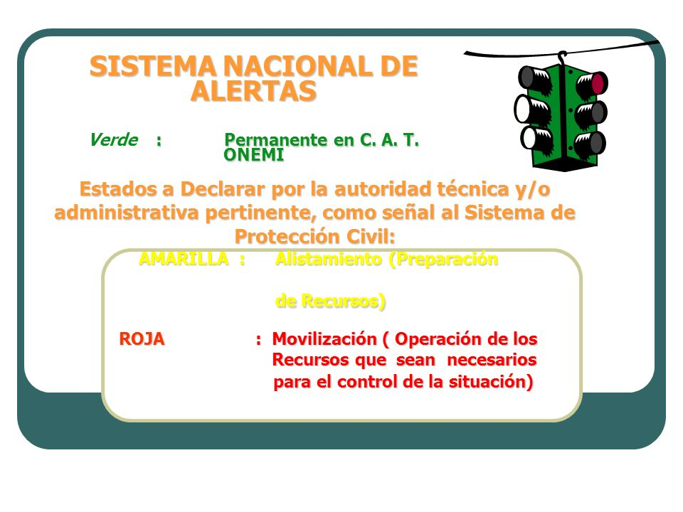 SISTEMA NACIONAL DE ALERTAS Verde : Permanente en C. A. T. ONEMI