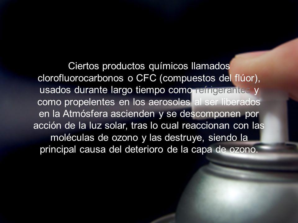 Ciertos productos químicos llamados clorofluorocarbonos o CFC (compuestos del flúor), usados durante largo tiempo como refrigerantes y como propelentes en los aerosoles al ser liberados en la Atmósfera ascienden y se descomponen por acción de la luz solar, tras lo cual reaccionan con las moléculas de ozono y las destruye, siendo la principal causa del deterioro de la capa de ozono.