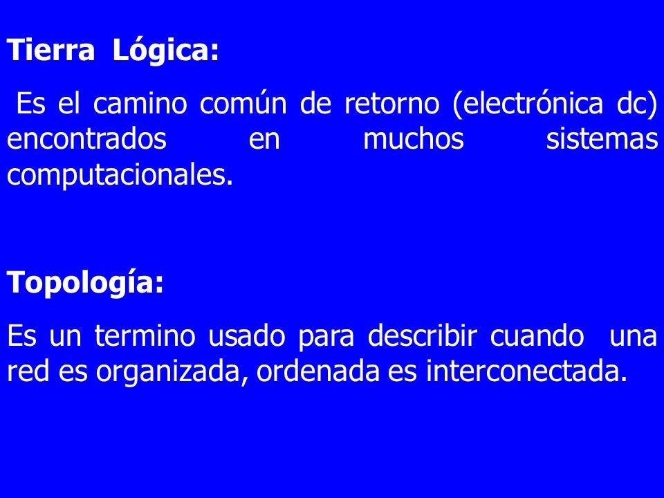 Tierra Lógica:Es el camino común de retorno (electrónica dc) encontrados en muchos sistemas computacionales.