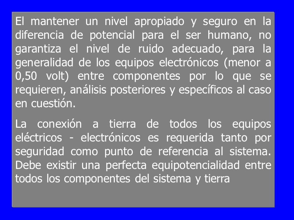 El mantener un nivel apropiado y seguro en la diferencia de potencial para el ser humano, no garantiza el nivel de ruido adecuado, para la generalidad de los equipos electrónicos (menor a 0,50 volt) entre componentes por lo que se requieren, análisis posteriores y específicos al caso en cuestión.