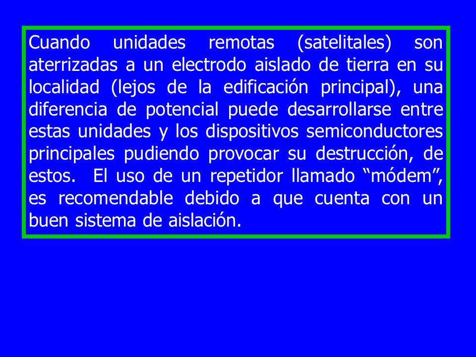 Cuando unidades remotas (satelitales) son aterrizadas a un electrodo aislado de tierra en su localidad (lejos de la edificación principal), una diferencia de potencial puede desarrollarse entre estas unidades y los dispositivos semiconductores principales pudiendo provocar su destrucción, de estos.