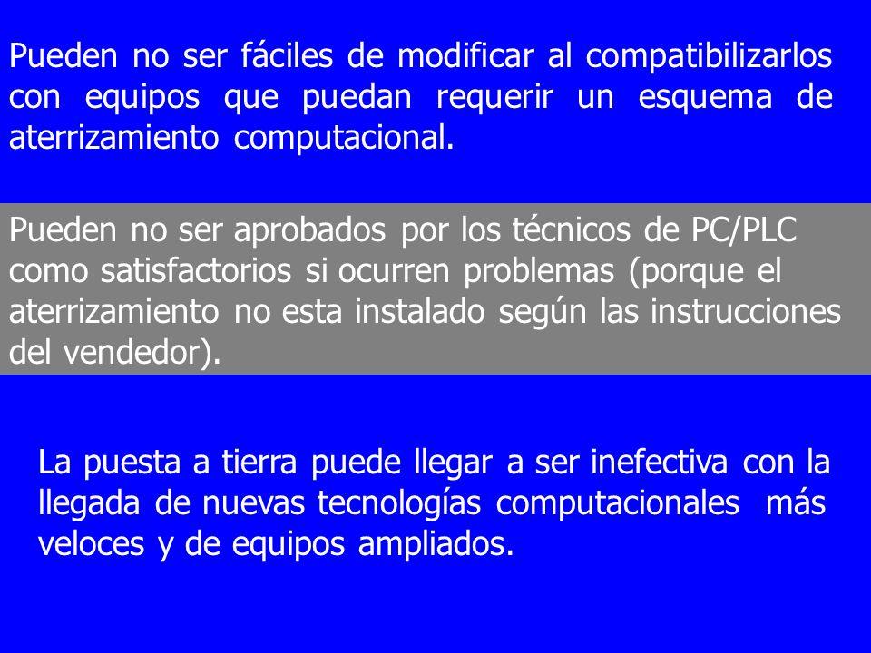 Pueden no ser fáciles de modificar al compatibilizarlos con equipos que puedan requerir un esquema de aterrizamiento computacional.