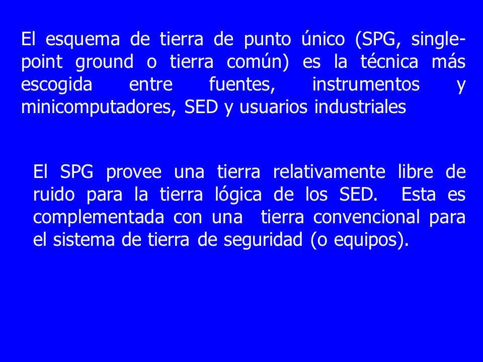 El esquema de tierra de punto único (SPG, single-point ground o tierra común) es la técnica más escogida entre fuentes, instrumentos y minicomputadores, SED y usuarios industriales