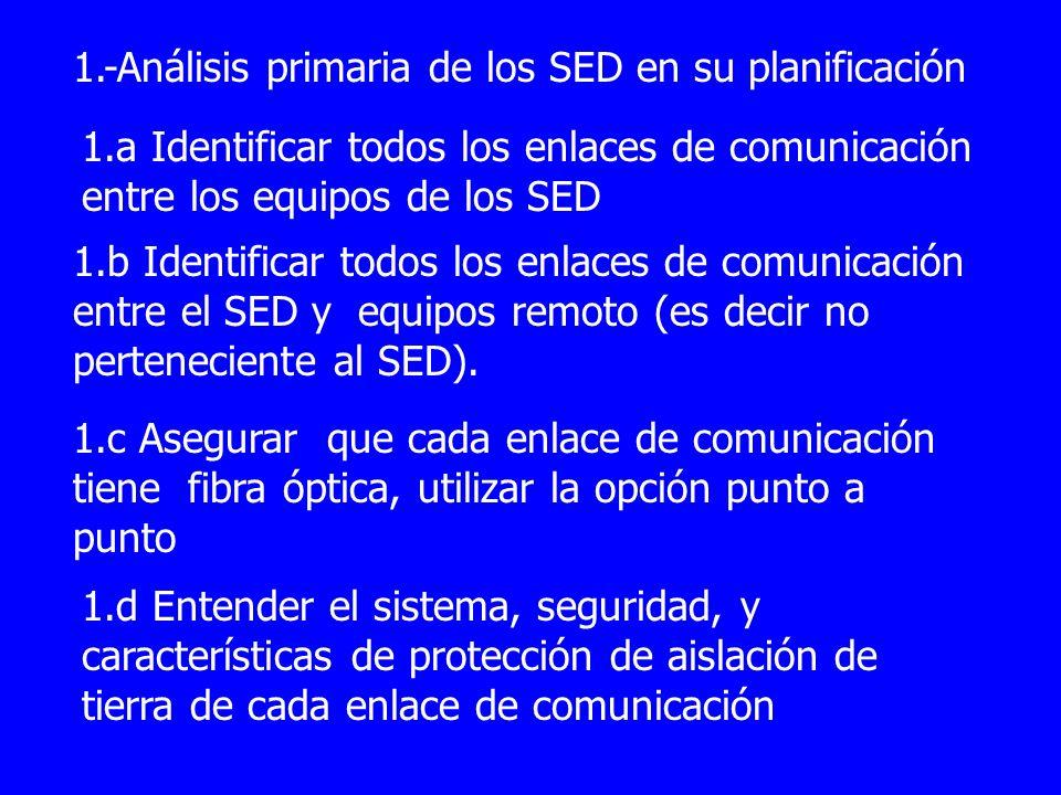 1.-Análisis primaria de los SED en su planificación