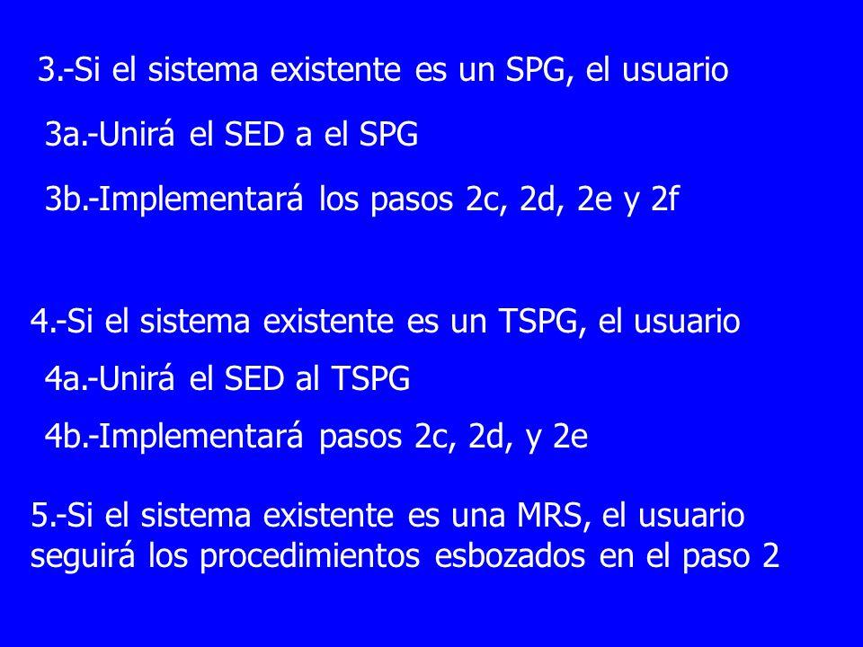 3.-Si el sistema existente es un SPG, el usuario