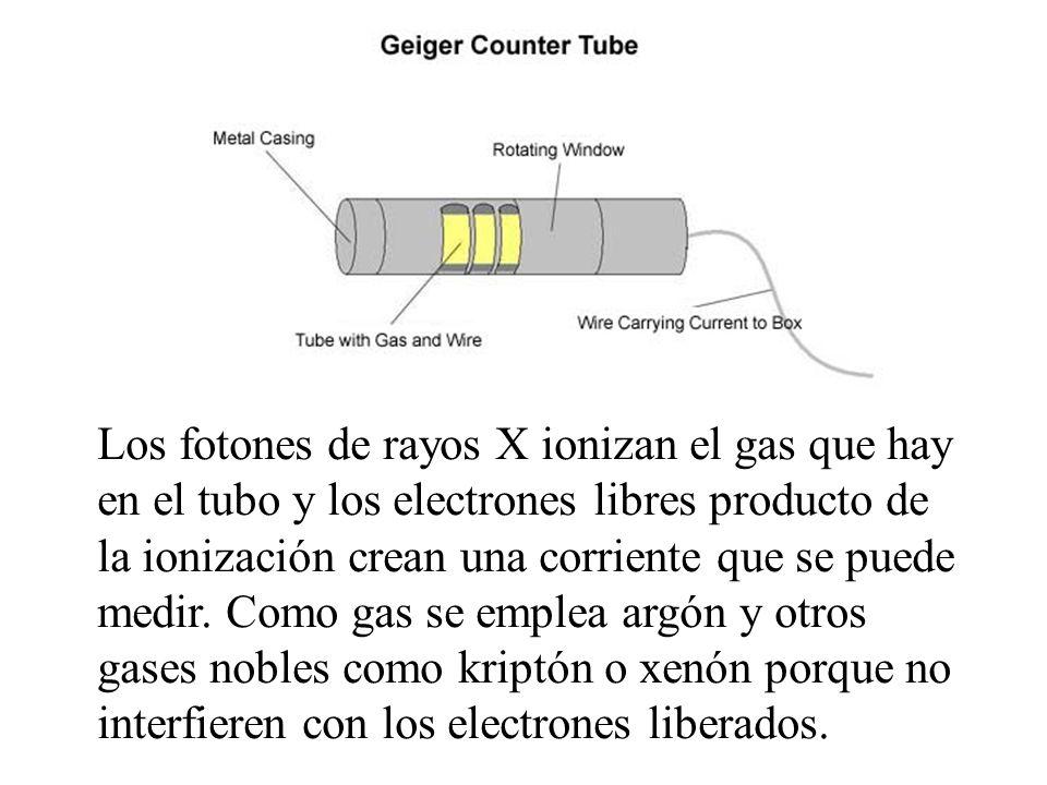 Los fotones de rayos X ionizan el gas que hay en el tubo y los electrones libres producto de la ionización crean una corriente que se puede medir.
