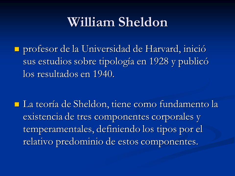 William Sheldon profesor de la Universidad de Harvard, inició sus estudios sobre tipología en 1928 y publicó los resultados en 1940.