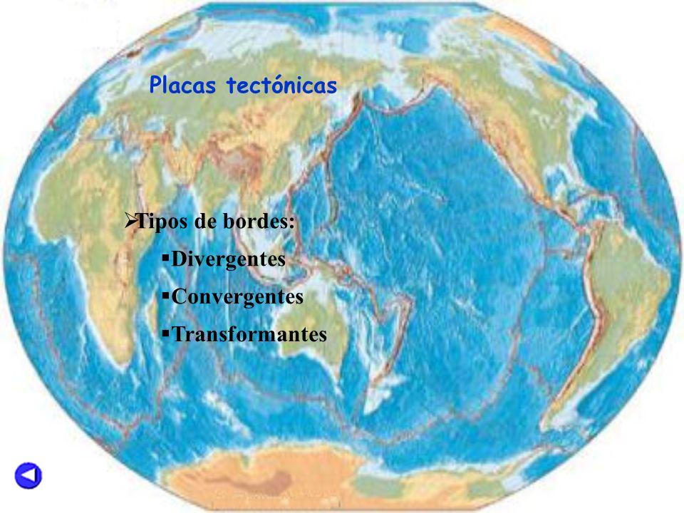 Placas tectónicas Tipos de bordes: Divergentes Convergentes Transformantes