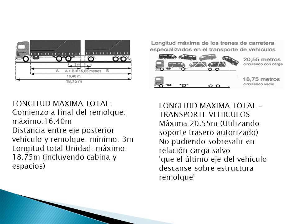 LONGITUD MAXIMA TOTAL: Comienzo a final del remolque: máximo:16