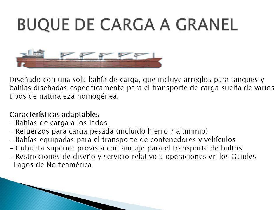 Diseñado con una sola bahía de carga, que incluye arreglos para tanques y bahías diseñadas específicamente para el transporte de carga suelta de varios tipos de naturaleza homogénea.