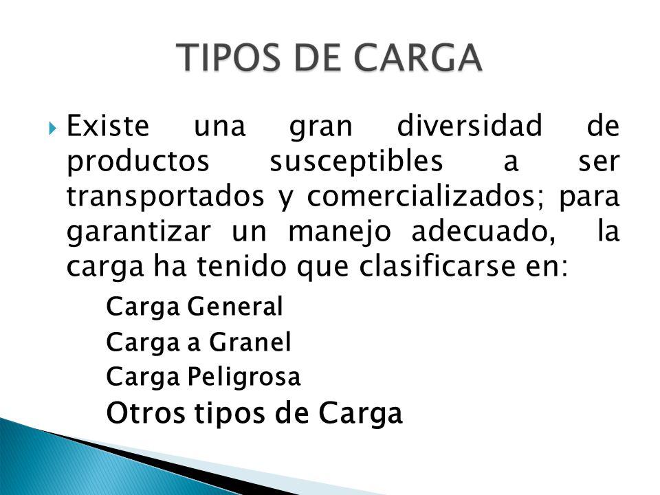 Existe una gran diversidad de productos susceptibles a ser transportados y comercializados; para garantizar un manejo adecuado, la carga ha tenido que clasificarse en: