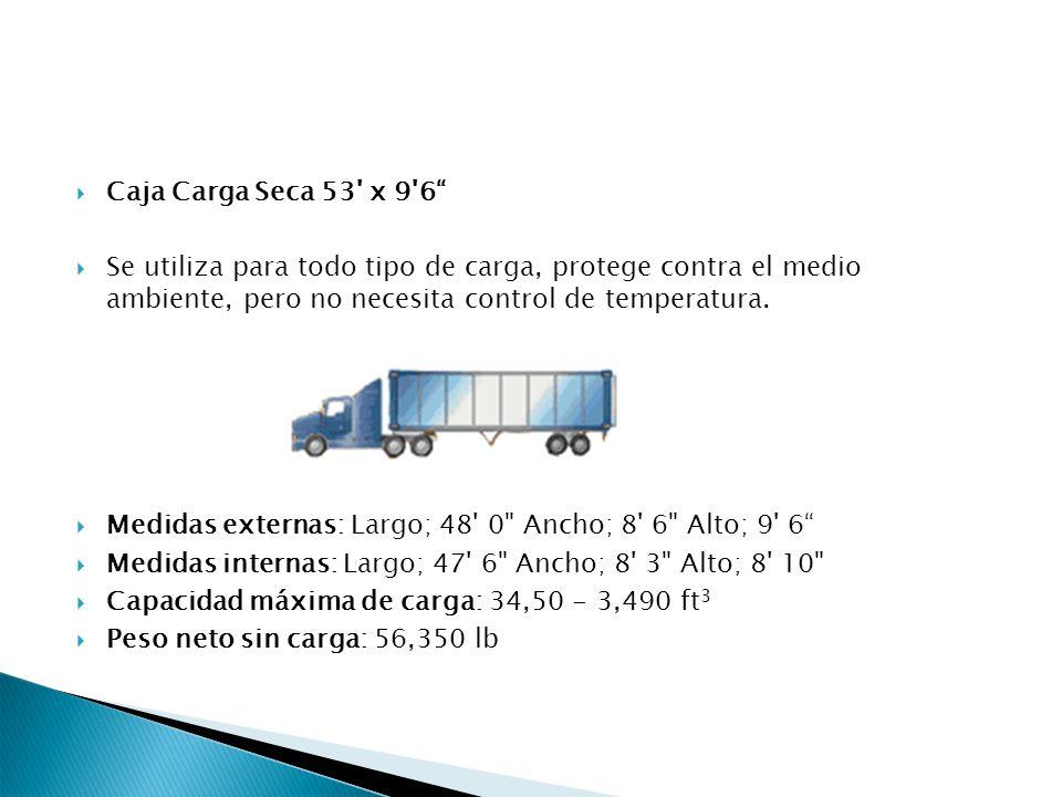 Caja Carga Seca 53 x 9 6 Se utiliza para todo tipo de carga, protege contra el medio ambiente, pero no necesita control de temperatura.