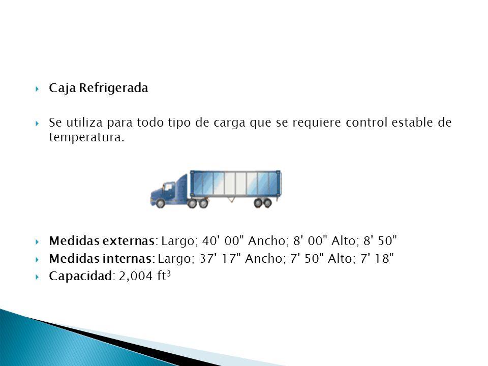 Caja Refrigerada Se utiliza para todo tipo de carga que se requiere control estable de temperatura.