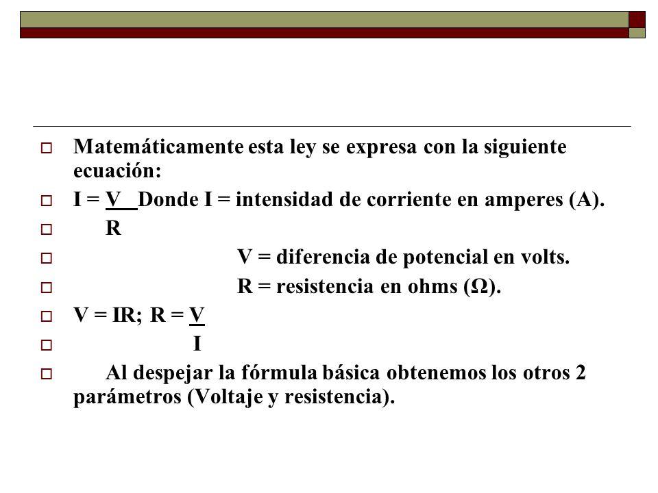 Matemáticamente esta ley se expresa con la siguiente ecuación:
