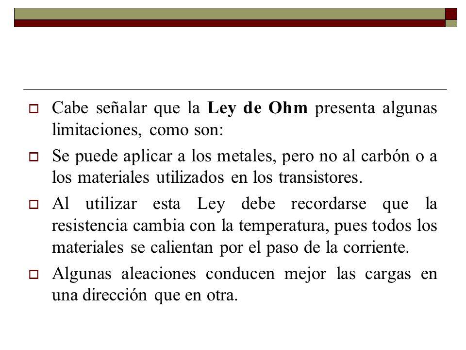 Cabe señalar que la Ley de Ohm presenta algunas limitaciones, como son: