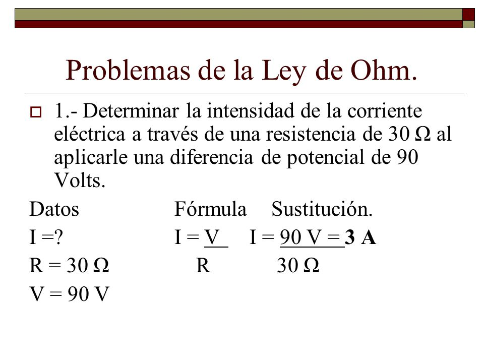 Problemas de la Ley de Ohm.