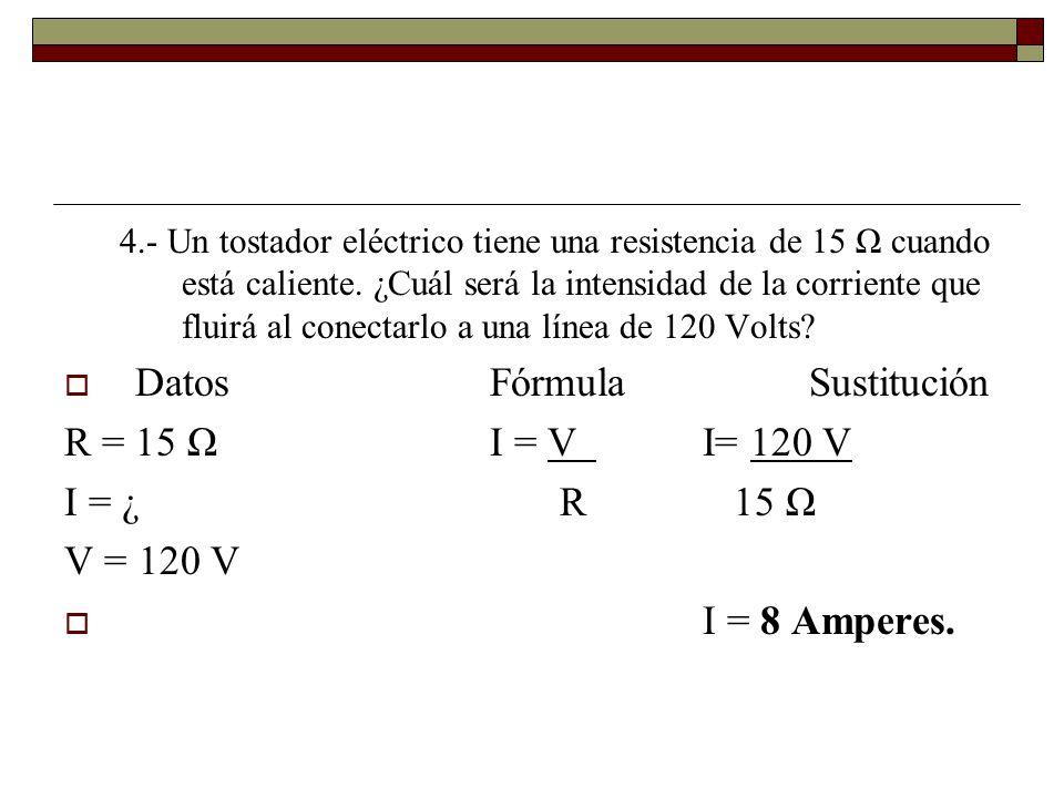 Datos Fórmula Sustitución R = 15 Ω I = V I= 120 V I = ¿ R 15 Ω