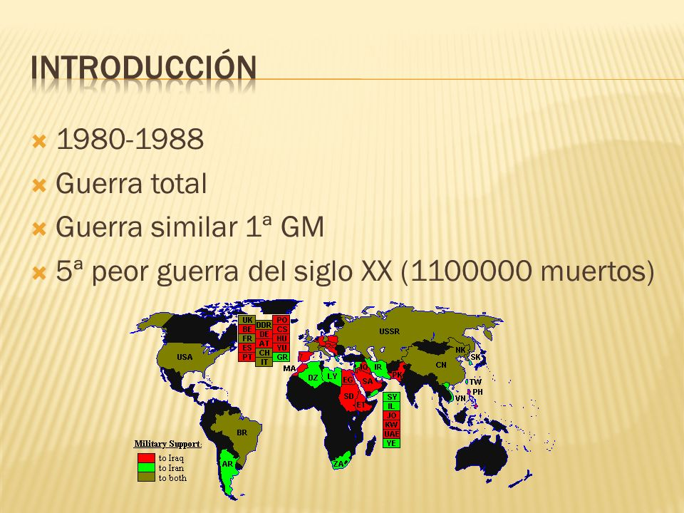 Introducción 1980-1988 Guerra total Guerra similar 1ª GM
