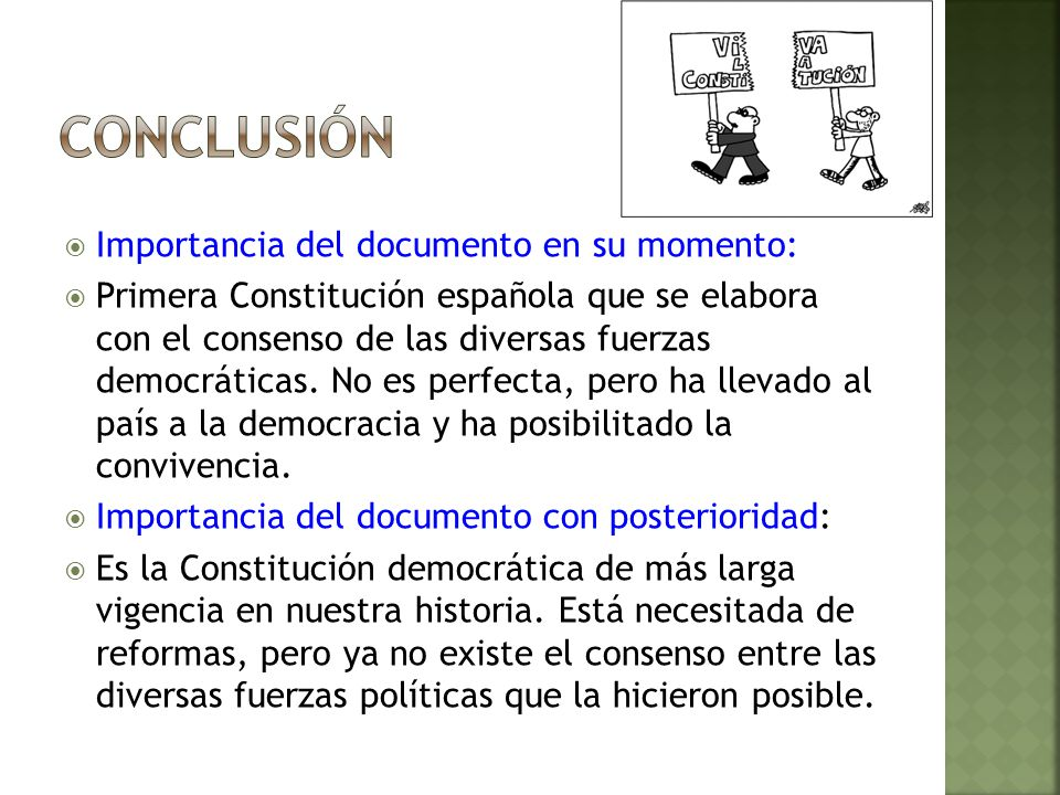 conclusión Importancia del documento en su momento:
