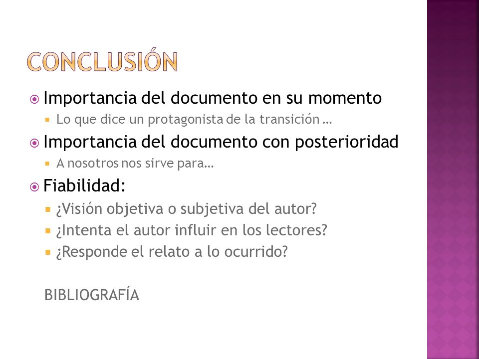 Conclusión Importancia del documento en su momento