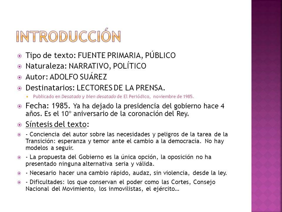 Introducción Tipo de texto: FUENTE PRIMARIA, PÚBLICO
