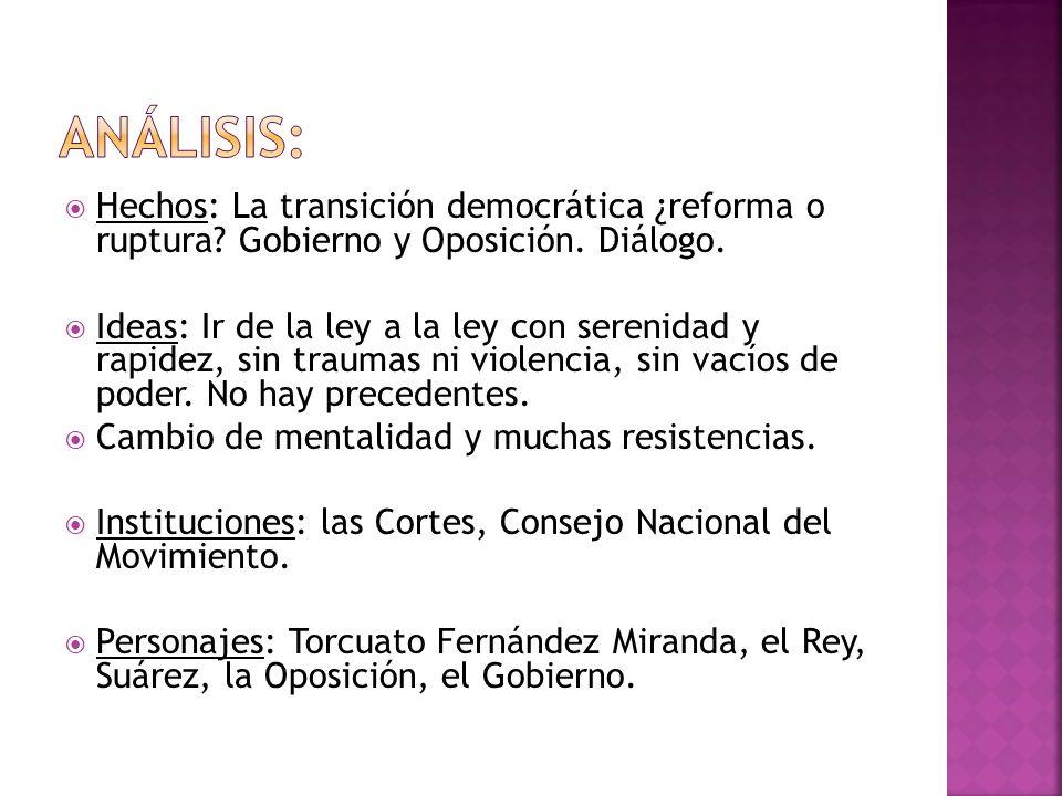 Análisis: Hechos: La transición democrática ¿reforma o ruptura Gobierno y Oposición. Diálogo.