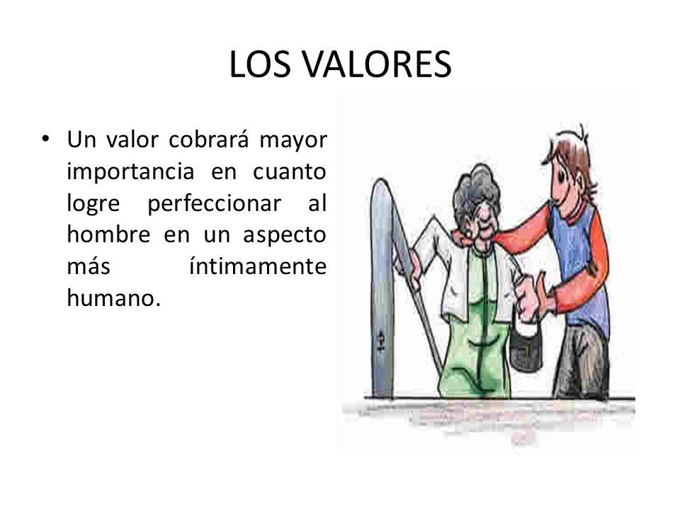 LOS VALORES Un valor cobrará mayor importancia en cuanto logre perfeccionar al hombre en un aspecto más íntimamente humano.