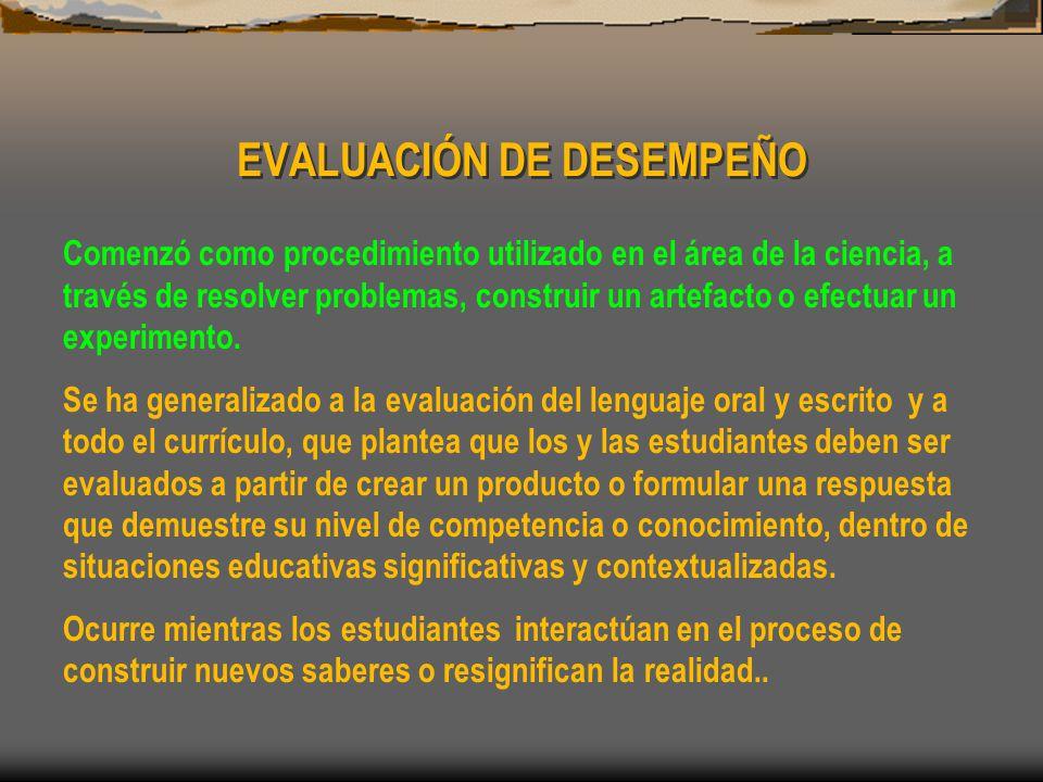 EVALUACIÓN DE DESEMPEÑO