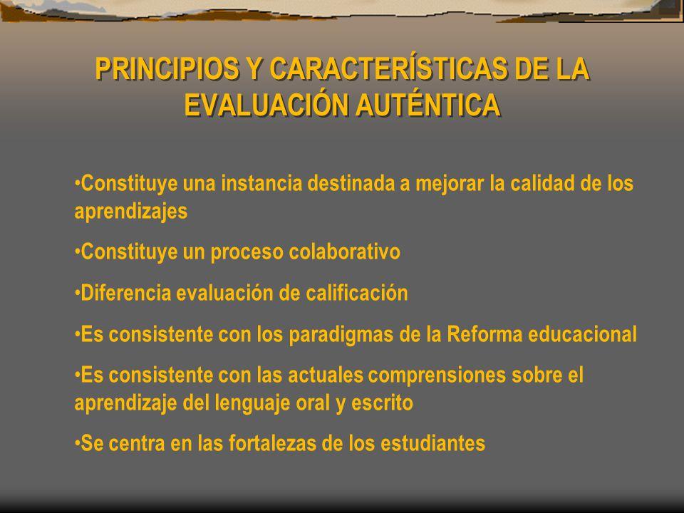 PRINCIPIOS Y CARACTERÍSTICAS DE LA EVALUACIÓN AUTÉNTICA