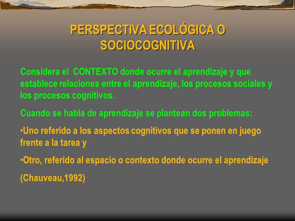 PERSPECTIVA ECOLÓGICA O SOCIOCOGNITIVA