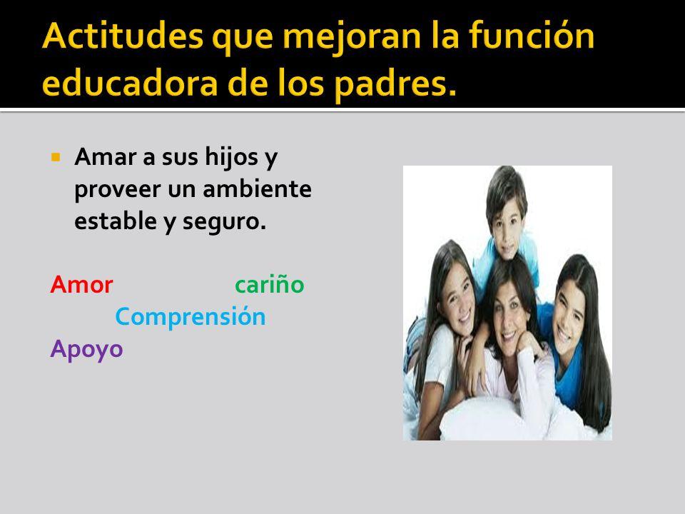 Actitudes que mejoran la función educadora de los padres.
