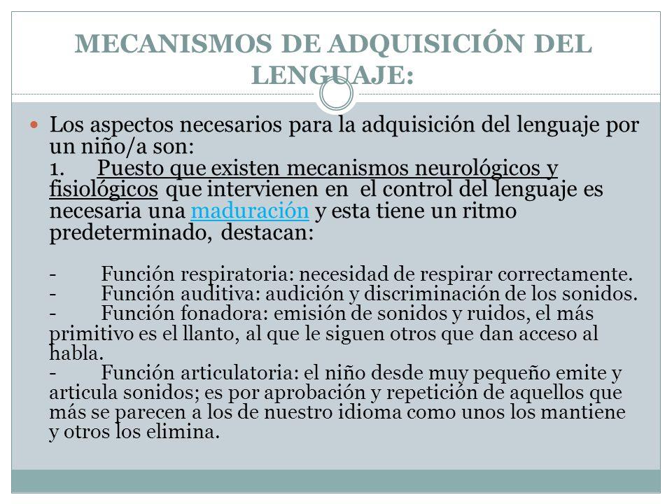 MECANISMOS DE ADQUISICIÓN DEL LENGUAJE: