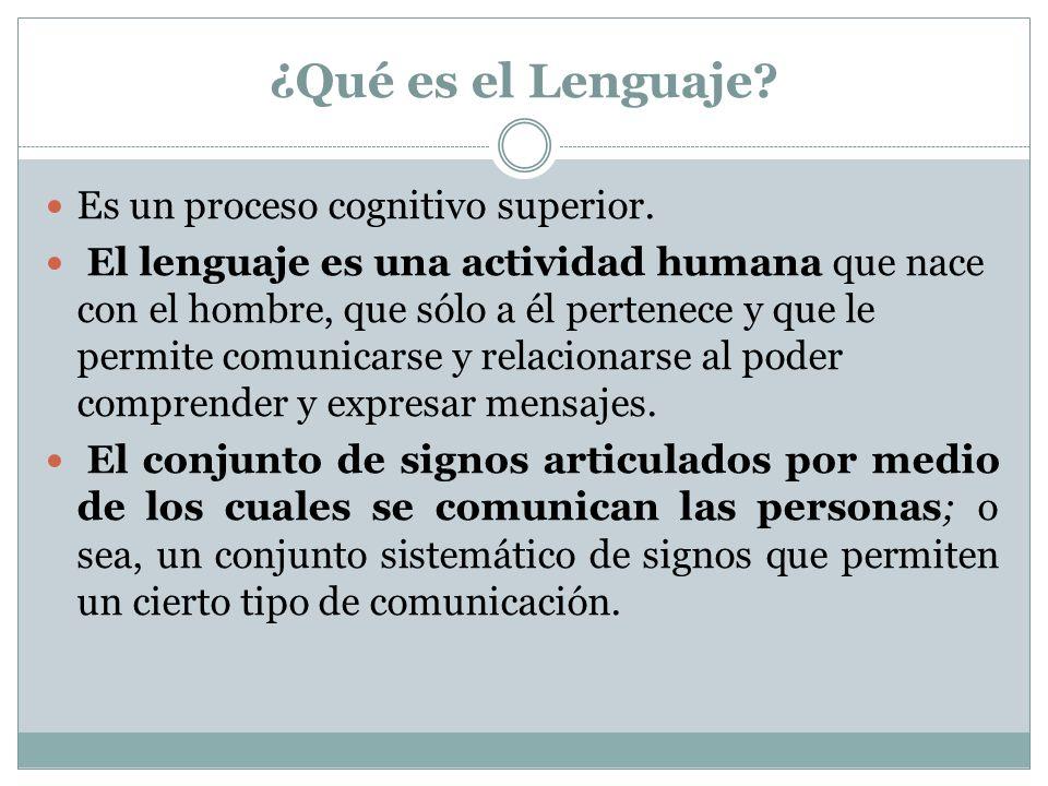 ¿Qué es el Lenguaje Es un proceso cognitivo superior.