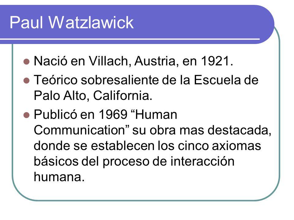 Paul Watzlawick Nació en Villach, Austria, en 1921.