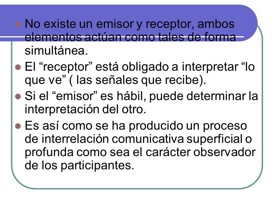 No existe un emisor y receptor, ambos elementos actúan como tales de forma simultánea.